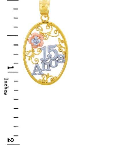 """10 ct 471/1000 Or - """"Sain 15"""" Ans- Fleur En Oxyde de Zirconium Pendentif Collier (Livre Avec un 45 cm Chaine)"""