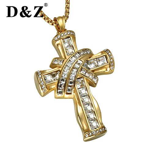 Davitu Luxury Big CZ Stones Cross Pendant Gold Color 316L Stainless Steel Hip hop Cross Necklaces /& Pendants for Men Jewelry Metal Color: Gold, Length: 60cm