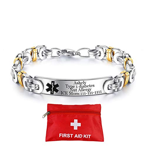 (Murinsar Personalized Custom Surgical Steel Emergency Medical Alert Bracelet Gold Plated Byzantine ID Bangle for Men Wome,8'',Free Engraving,with Aid Bag)
