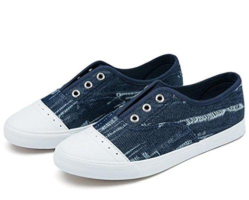Diaria Zapatos Estudiantes Blue Cowboy Plano Ocio Deep Colores Lienzo Señora Escuela Nvxie Permeabilidad Dos 5Uzg0