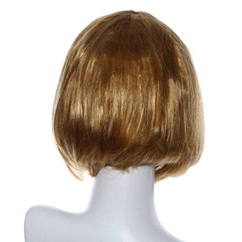 Anshinto Masquerade Small Roll Bang Short Straight Hair Wig for Girls (gold)