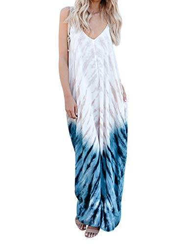 kenoce Women's V Neck Print Spaghetti Strap Boho Long Maxi Dress Sundress with Pockets Z-Floral M