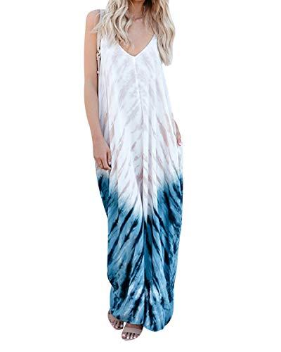 kenoce Women's V Neck Print Spaghetti Strap Boho Long Maxi Dress Sundress with Pockets Z-Floral M ()