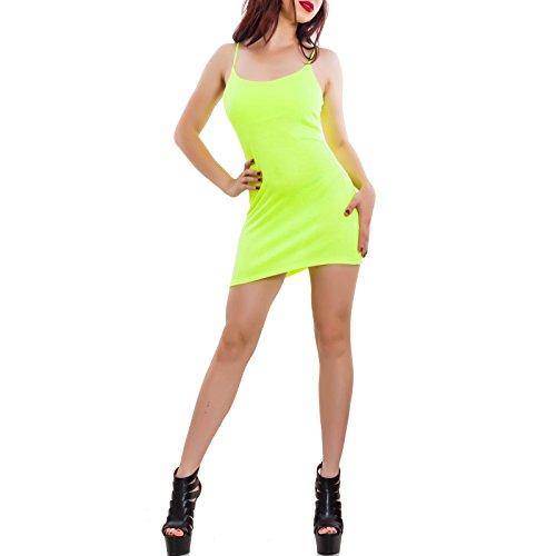 nuovo maniche basic donna miniabito Toocool Giallo aderente canotta 2601 Vestito Fluo senza CJ hot w00qIz4r