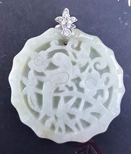 Natural Green Jadeite Jade Pendant Bird, Bamboo and Flower (Grade A), Jade Carving, Jade Jewellery, Chinese Collectible, 天然緬甸硬玉 (A 貨)