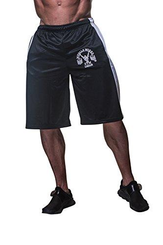 Mens Muscle Works Gym Fitness Shorts Mesh Airtex Training MMA Boxing Shorts Silver Black