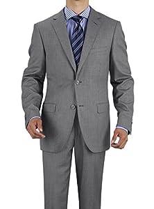 B00LK4SYSA Gino Valentino Men's 2 Button Jacket Flat Front Pants Modern Fit Suit (52 Long US / 62 Long EU, Light Gray)