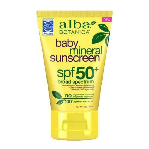Alba Botanica, Sunscreen Baby Mineral SPF 50, 4 Ounce