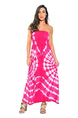 (Riviera Sun 21611-FW-2X Strapless Tube Maxi Dress/Summer Dresses Fuchsia/White)