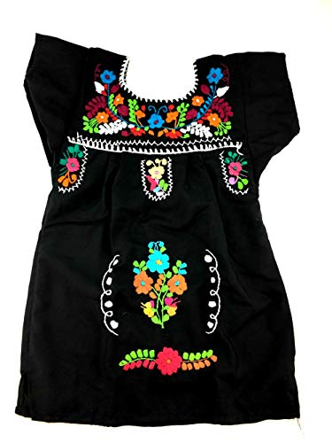 Mexican Clothing Size 2 Baby Girls Mexican Dress Tehuacan Color Black Fiesta Mexicana 5 de Mayo -