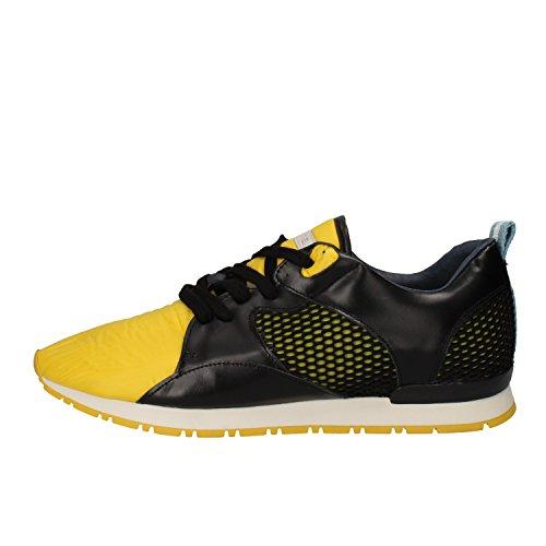 D.A.T.E. , Herren Sneaker Schwarz/Gelb
