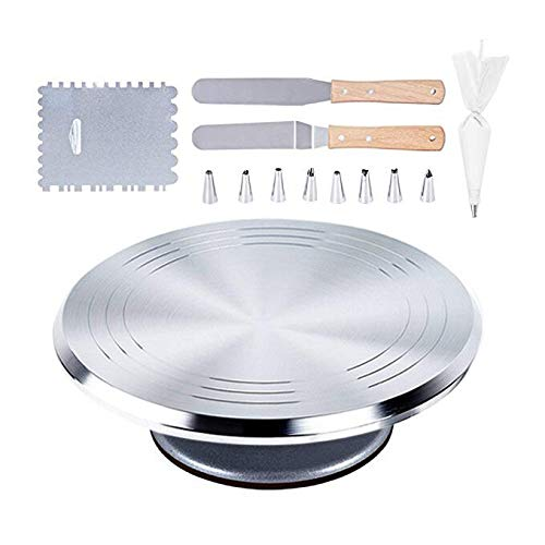 Aluminium Cake Stand, 12 Revolving Cake Decorating Turntable, Cake Decorating Stand with 1 Icing Smoother, 8 Stainless Steel Tips, 50 Disposable Pastry Bags, 2 Icing Spatula with Sided and Angled
