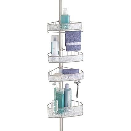 mDesign Estantería de ducha con barra telescópica – Práctico organizador de  ducha de 4 cestas para 7fa7a1305091