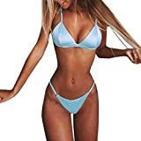 Clearance Sale!Women Push-Up Bikini, Lady Sexy Solid Swimwear-Monokinis Swimsuit-Low Waist Tankini-2019 New Beachwear 2PCS (Blue, M)