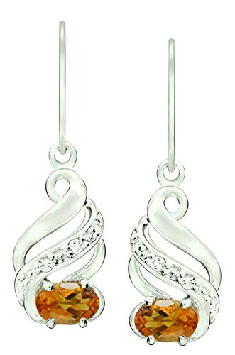 RB Gems Sterling Silver 925 Earrings GENUINE GEMSTONE Oval 6x4 mm, RHODIUM-PLATED Finish, DANGLE Style (madeira-citrine) ()