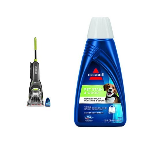 Bissell Turboclean Powerbrush Pet Full Size Upright Carpet Cleaner & BISSELL 2X Pet Stain & Odor Portable Machine Formula, 32 ounces, 74R7 by