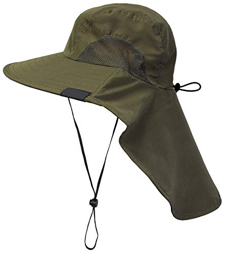 Tirrinia Outdoor Sun Protection Fishing Cap with Neck Flap, Wide Brim Sun Hat for Travel Camping Hiking Hunting Boating Safari Cap with Adjustable Drawstring, Forest Green