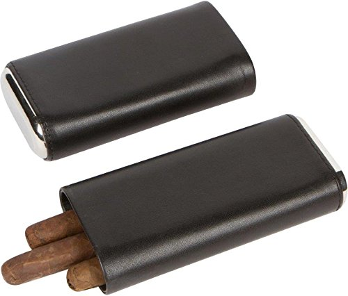 3 Cigar Leather Like Case with Cedar Lining by Trademark Innovations