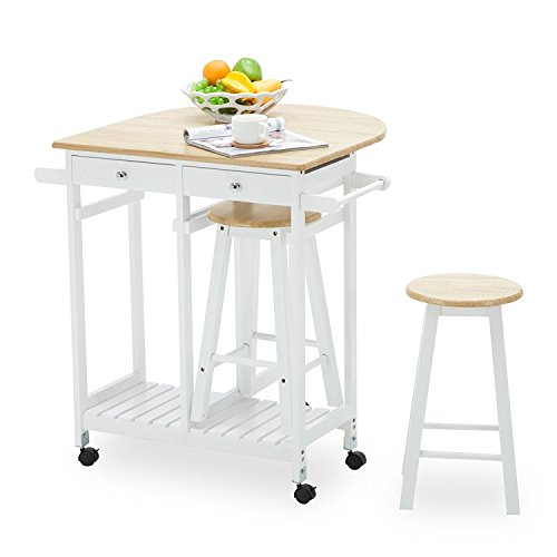 Mecor Rolling Kitchen Cart Trolley Island Table with 2 Stools and 2 Drawers White (Table With Storage Breakfast)