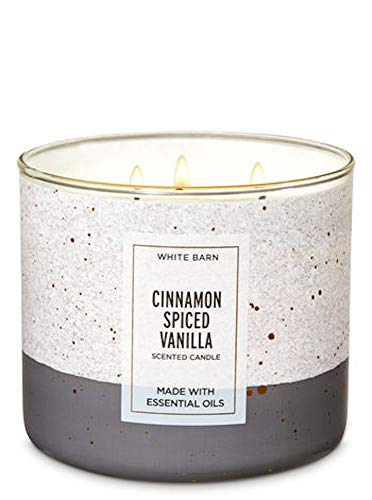 (Bath & Body Works White Barn Cinnamon Spiced Vanilla Candle 3 Wick with Essential Oils 14.5 oz/411g with Decorative Lid)