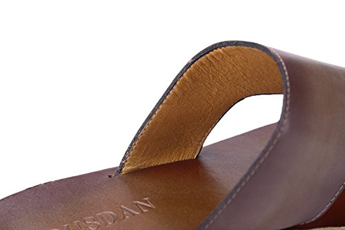 Upper Open Cut Tortor Men's Out Toe Leather Slippers 1bacha Coffee qfBt0
