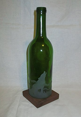 Recycled Wine Bottle Candle Shade Howling Wolf and Moon (Shade Wolf)