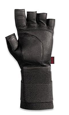Valeo Industrial V440-WS All Leather Pro Fingerless Anti-Vibe Gloves with Wrist Strap, VI4878, Pair, Black, Medium