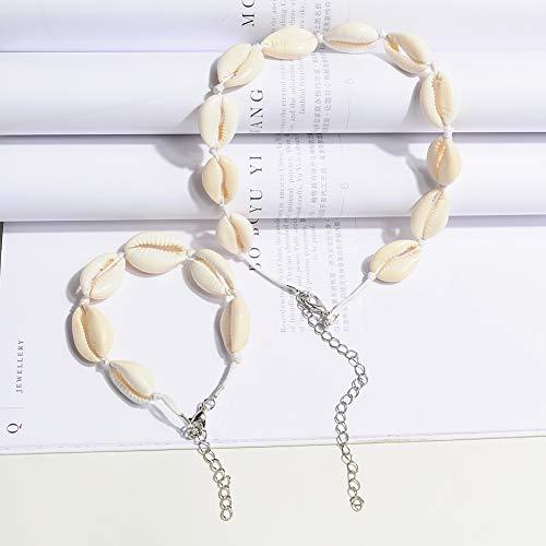 Vercret Gold Choker Necklace for Women - Beaded Choker Set for Girls, Handmade Conch Shell Necklace for Gift, Daily Beach Necklace(White)
