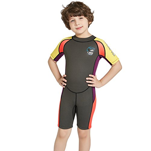 dark lightning 2mm Shorty Wetsuit Kids, Boy's Swimwear Shorty Sleeves, Children's Neoprene Diving/Surfing Swimsuit, Grey Wet Suits, L ()