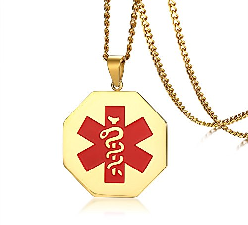 HUANIAN Free Engraving- Stainless Steel Octagon Medical Alert ID Tag Pendant Necklace with 24