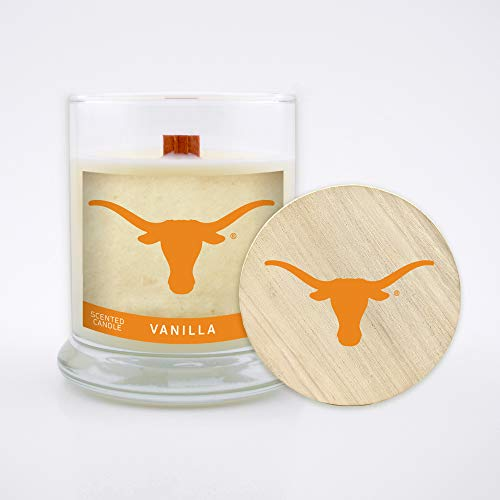 Texas Longhorns Wood Basketball - Worthy Promo NCAA Texas Longhorns 8 oz Vanilla Scented Soy Wax Candle, Wood Wick and Lid