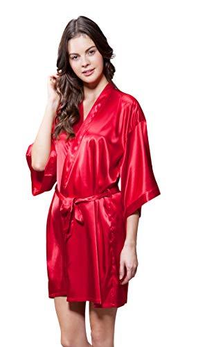 Silk Satin Kimono Robe - Satin Kimono Bridesmaids Robe (Small/Medium, Red)