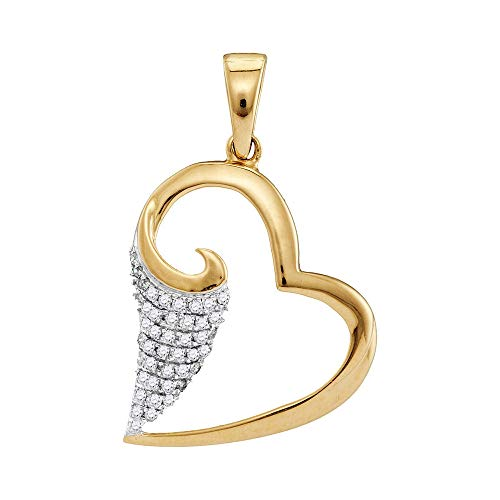 (Jewels By Lux 10kt Yellow Gold Womens Round Diamond Scroll Heart Pendant 1/5 Cttw In Pave Setting (I2-I3 clarity; J-K)