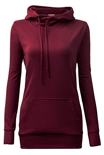 women Hoodies,YaYa Bay Womens Long Sleeve String Pullover Funnel Neck Kangaroo Pouch Pocket Vintage Corn Tunic Sweater Hoodie Medium Wine Red