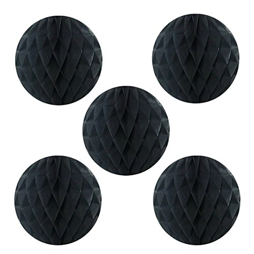 Wrapables A69074c Tissue Honeycomb Ball Party Decorations for Weddings, Birthday Parties, Baby Showers and Nursery Decor (Set of 5), 6, Black