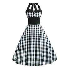 Vintage Plaid Retro Cocktail Prom Dresses 50's 60's Rockabilly Bandage Party Prom Dress (XL Black)