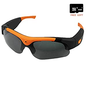 JIAMEIYI HD720P Eyewear Video Recorder Sunglasses Camera Recording DVR Glasses Camcorder+Free 8G Micro SD Card (Orange)