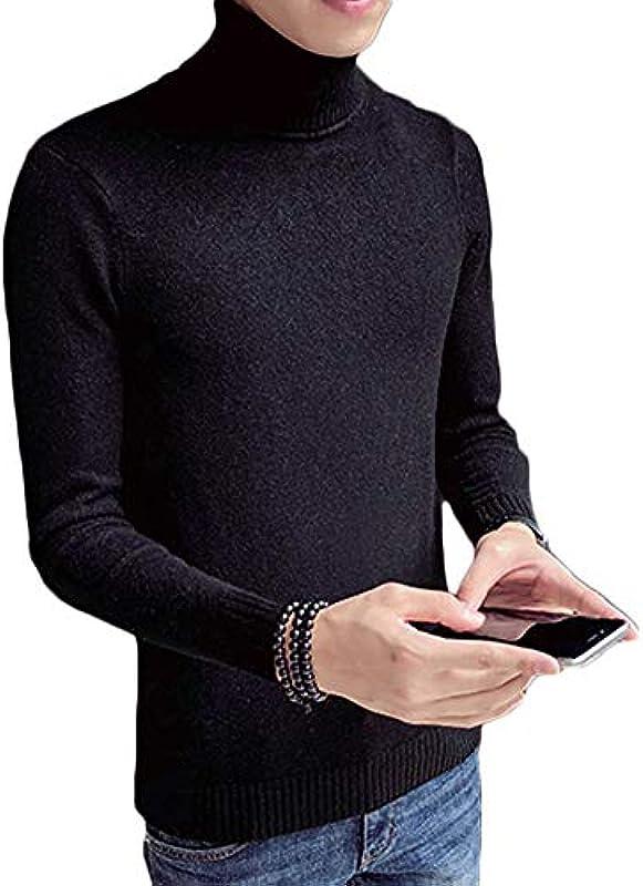 QitunC męski sweter z rolowanym kołnierzem, cienki sweter z dzianiny, ciepła bluza sportowa: Odzież