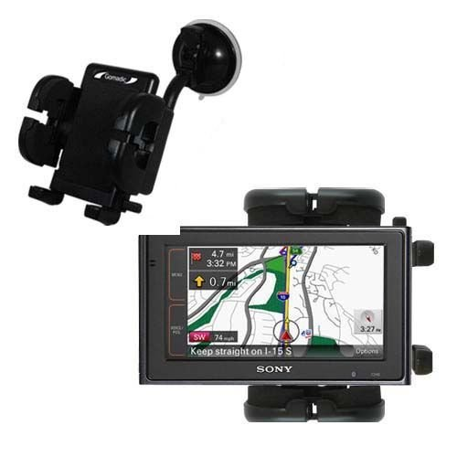 Windshield Vehicle Mount Cradle suitable for the Sony NV-U94T - Flexible Gooseneck Holder with Suction Cup for Car / Auto.
