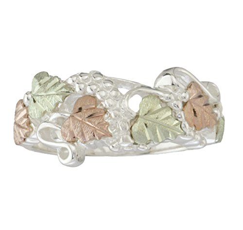 Fancy Cut-Out Leaf Band, Sterling Silver, 12k Green and Rose Gold Black Hills Gold Motif, Size 8 Black Hills Sterling Silver Bands