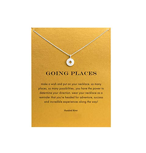Graduation Jewelry - Hundred River Friendship Clover Necklace Unicorn Good Luck Elephant Necklace with Message Card Gift Card for Women Girl (Compass)