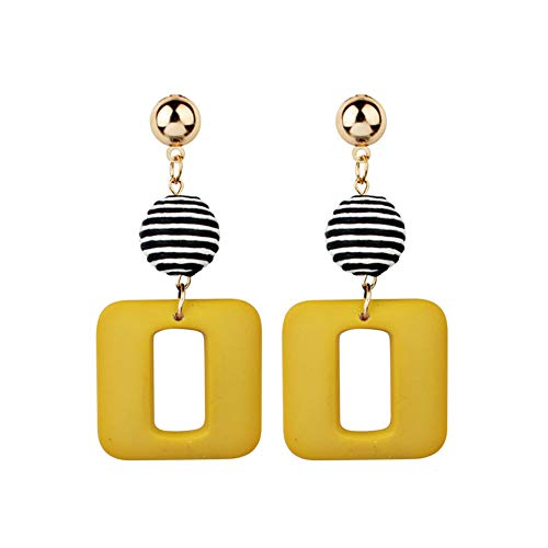 (Fashion Brand New Simple Personalized Earrings Geometry Square Plaid Tassel Charm Dangle Earrings For Women Accessories)
