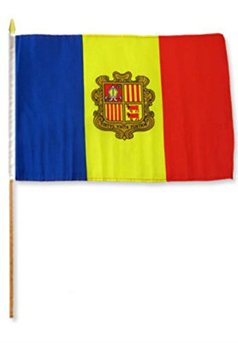 ALBATROS 12 inch x 18 inch (Pack of 12) Andorra Stick Flag with Wood Staff for Home and Parades, Official Party, All Weather Indoors Outdoors]()