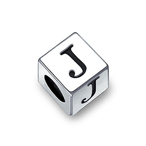 Sterling Silver Block (Bling Jewelry 925 Sterling Silver Block Letter J Bead Charm)