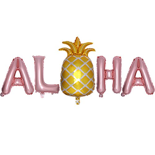 LUOEM Hawaiian Balloons Aloha Mylar Ballon Hawaii Luau Partydekorationen Sommer Tropischen Party Favors Supplies(Aloha Balloons)]()