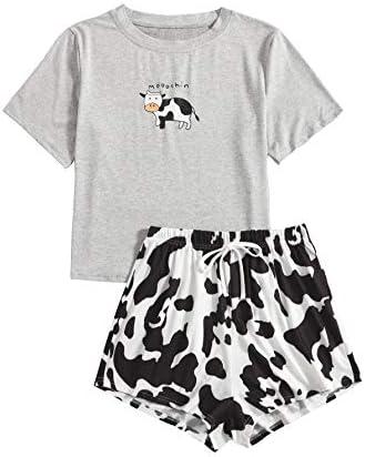 DIDK Conjunto de pijama de dos piezas para mujer, diseño de dibujos animados