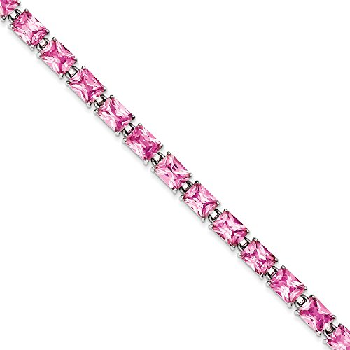 Argent Sterling CZ Rose-Bracelet - 7,5 cm-Fermoir JewelryWeb