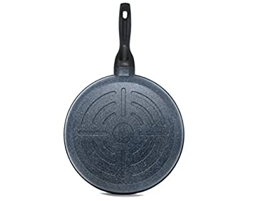 Alpha MF-30 Non-Stick Frying Pan with Stone Marble Coated Cast Aluminium, 12 , Black, Inch