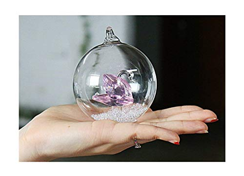H&D Crystal Glass Swan Figurine in a Glass Dome,Hanging Glass Christmas Balls Tree Ornaments Decoration