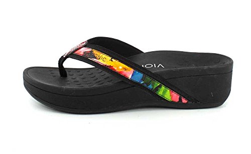 Vionic 380 Hightide Sandals Black Pacific Leather Floral Womens ggrwRq1